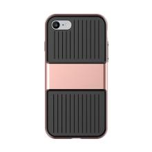 Kryt Baseus pro Apple iPhone 7 / 8 plastový rose gold rámeček - gumový černý