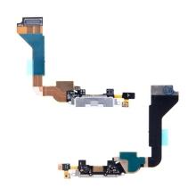 Flex kabel s napájecím a datovým konektorem + SMD mikrofon pro Apple iPhone 4 - bílý