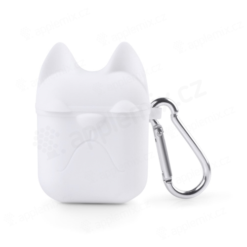 Pouzdro   obal pro Apple AirPods - silikonové - kočička - bílé ... 28d8b1a14de
