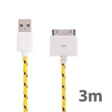 Synchronizační a nabíjecí kabel s 30pin konektorem pro Apple iPhone / iPad / iPod - tkanička - žlutý - 3m