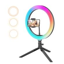 """10"""" kruhové LED RGB světlo BLITZWOLF (Ring light)  BW-SL5 - dálkové ovládání + stativ"""
