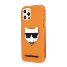 Kryt KARL LAGERFELD Choupette pro Apple iPhone 12 Pro Max - gumový - oranžový - třpytky