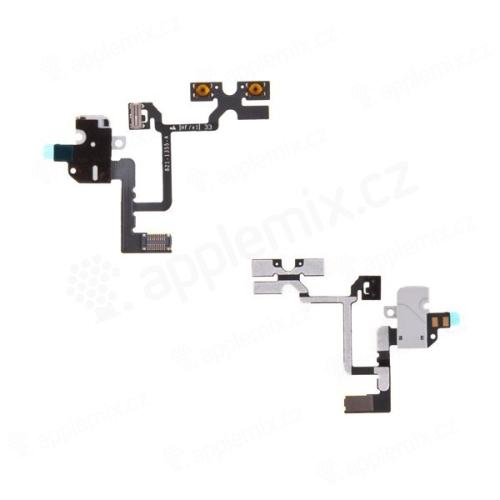 Flex kabel s audio jackem konektorem, přepínačem mute a ovládáním volume pro Apple iPhone 4 - bílý