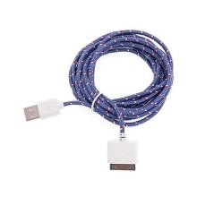 Synchronizační a nabíjecí kabel s 30pin konektorem pro Apple iPhone / iPad / iPod - tkanička - růžový
