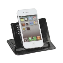 Univerzální kovový stojan pro Apple iPhone a další zařízení s upevňujícími lepícími protiskluzovými podložkami - černý
