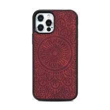 Kryt pro Apple iPhone 12 / 12 Pro - mandala - MagSafe kompatibilní - umělá kůže - červený