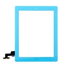 Přední dotykové sklo (touch screen) pro Apple iPad 2.gen. - osazený díl - Home Button + středový rámeček - modré