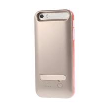 MFi certifikovaná externí baterie iFans s vyměnitelnými rámečky a stojánkem pro Apple iPhone 5 / 5S / SE - 2400 mAh -stříbrno-če