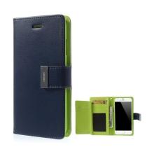 Pouzdro Mercury ve stylu peněženky s magneticky uzavíracím klipem pro Apple iPhone 6 Plus / 6S Plus - modro-zelené