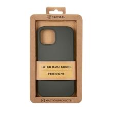 Kryt TACTICAL Velvet Smoothie pro Apple iPhone 12 / 12 Pro - příjemný na dotek - silikonový - olivově zelený