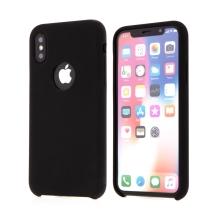 Kryt pro Apple iPhone Xs Max - gumový - příjemný na dotek - výřez pro logo - černý
