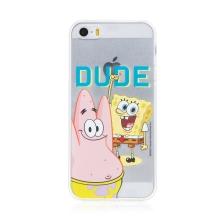 Kryt Sponge Bob pro Apple iPhone 5 / 5S / SE - gumový - Sponge Bob s Patrikem
