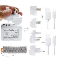 Cestovní sada HAWEEL - USB adaptér + UK / US / AU / EU koncovka + Lightning + USB-C kabel + látkový sáček