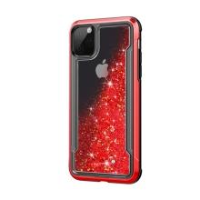 Kryt pro Apple iPhone 11 Pro - lesklý rámeček + pohyblivé třpytky - plastový / gumový - červený