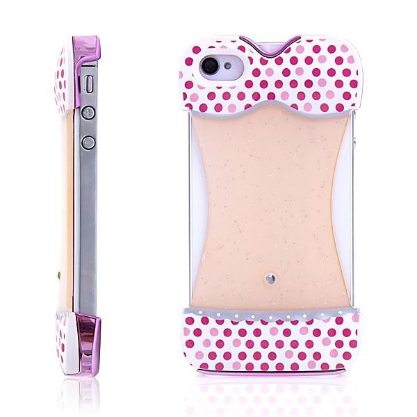 Ochranný kryt bikiny pro Apple iPhone 4/4S - bílý s růžovými puntíky a zrcadlovým efektem na zadní straně