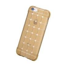 Gumový kryt ROCK pro Apple iPhone 6 / 6S - 3D kostky - průhledný - světle hnědý