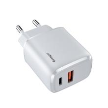 20W EU napájecí adaptér / nabíječka ESSAGER - rychlonabíjecí - USB + USB-C pro Apple iPhone / iPad - bílý