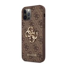 Kryt GUESS 4G pro Apple iPhone 12 / 12 Pro - kovové logo 4G - umělá kůže - hnědý