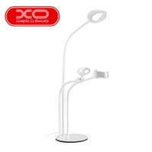 Stojánek / držák XO pro Apple iPhone + LED světlo (Ring light) + držák mikrofonu - flexibilní - bílý