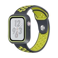 Řemínek pro Apple Watch 44mm Series 4 / 42mm 1 2 3 + ochranný rámeček - silikonový - černý / žlutý