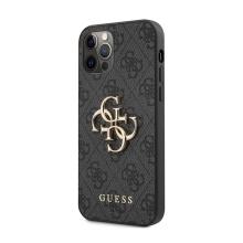 Kryt GUESS 4G pro Apple iPhone 12 / 12 Pro - kovové logo 4G - umělá kůže - šedý