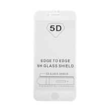 """Tvrzené sklo (Tempered Glass) """"5D"""" pro Apple iPhone 7 / 8 - 3D - bílý rámeček - čiré - 0,3mm"""