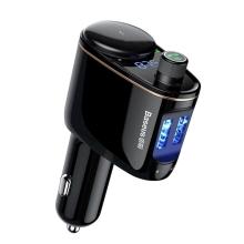 FM transmitter BASEUS S-06 + autonabíječka 2x USB + Bluetooth 4.2 handsfree + 1x zdířka zapalovače - černý