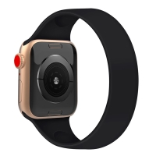 Řemínek pro Apple Watch 44mm Series 4 / 5 / 6 / SE / 42mm 1 / 2 / 3 - bez spony - silikonový - velikost M - černý