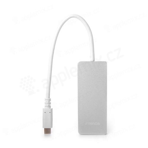 Redukce / adaptér SEENDA USB-C Hub / 2x USB 3.0, USB-C - stříbrný