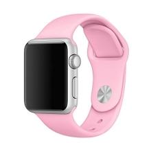 Řemínek pro Apple Watch 44mm Series 4 / 5 / 6 / SE / 42mm 1 / 2 / 3 - velikost S / M - silikonový - růžový