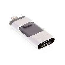 Flash disk 32GB - MFi certifikovaný - USB / Lightning / Micro USB OTG - hliník / plast - stříbrný / šedý
