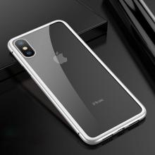 Kryt pro Apple iPhone X - magnetické uchycení - sklo / kov - průhledný / bílý