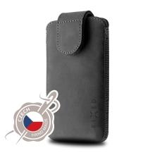 Pouzdro pro Apple iPhone X / Xs / XI - zasouvací - česká ruční výroba - kožené - černé