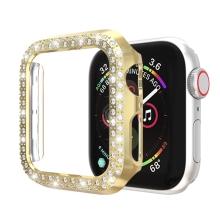 Kryt / pozdro pro Apple Watch 44mm Series 4 / 5 / 6 / SE - s kamínky - plastový - zlatý