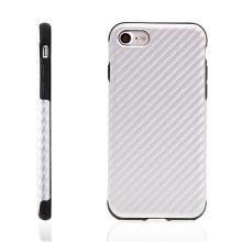 Kryt ROCK pro Apple iPhone 7 / 8 gumový / karbonový vzor - stříbrný