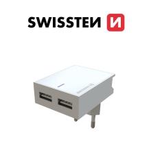 Nabíječka / EU adaptér SWISSTEN - 2x USB - 15W - bílá