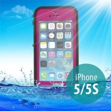 Voděodolné plastové pouzdro Redpepper pro Apple iPhone 5 / 5S / SE s podporou funkce Touch ID - růžové s černým rámečkem