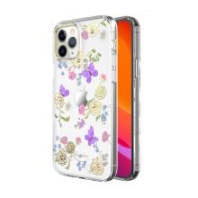 Kryt KINGXBAR pro Apple iPhone 12 / 12 Pro - s kamínky - gumový / plastový - květiny a motýli