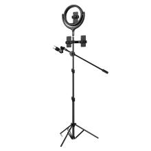 """LED světlo DEVIA (Ring light) 12"""" - kruhové - dotykové ovládání + stativ 170 cm - na streamování - 360° otočné"""