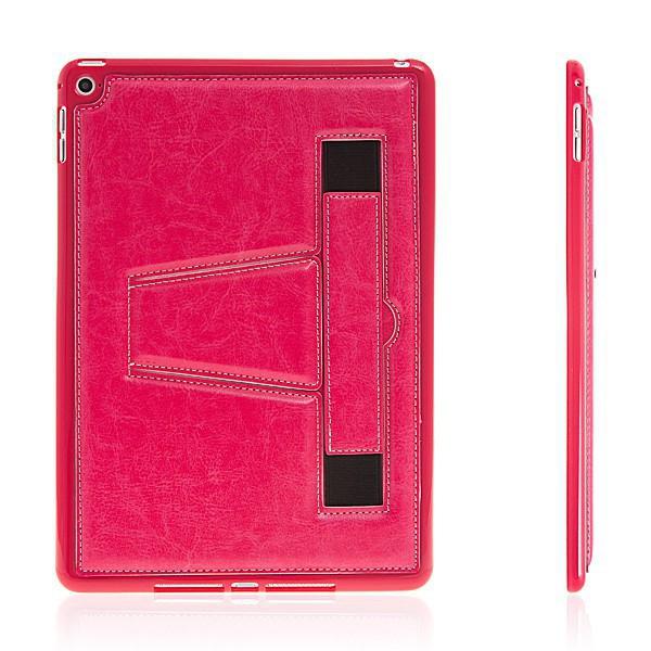 Gumový kryt + stojánek pro Apple iPad Air 2 - pásek na ruku - růžový