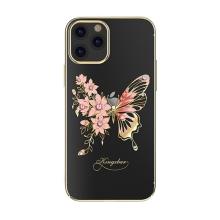 Kryt KINGXBAR pro Apple iPhone 12 / 12 Pro - s kamínky - plastový - motýli a květiny - zlatý / růžový