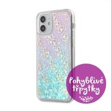 Kryt GUESS 4G Liquid Glitter pro Apple iPhone 12 mini - plastový - růžové třpytky