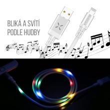 Synchronizační a nabíjecí kabel Lightning USAMS pro Apple zařízení - bliká podle hudby - 1m - bílý