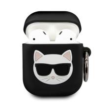 Pouzdro KARL LAGERFELD pro Apple AirPods - kočka Choupette - silikonové - černé