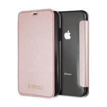 Pouzdro GUESS IriDescent Book pro Apple iPhone Xr - umělá kůže / plastové - Rose Gold / průhledné