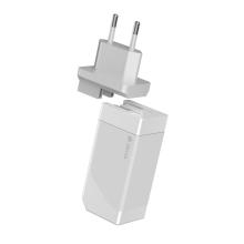 65W EU napájecí adaptér / nabíječka DEVIA GaN pro Apple iPhone / MacBook - 2x USB + USB-C - bílý