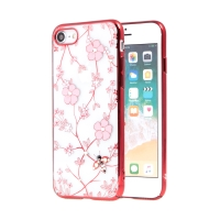 Kryt KAVARO pro Apple iPhone 7 / 8 - s kamínky - plastový - květiny a včely - průhledný / červený