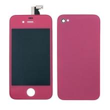 LCD panel včetně dotykového skla (digitizéru) pro Apple iPhone 4 a zadního krytu (skla) - tmavě růžový