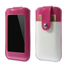 Pouzdro pro Apple iPhone 6 / 6S s magnetickým uzavírání a prostorem pro platební kartu - růžovo-bílé