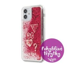 Kryt GUESS Liquid Glitter Charms pro Apple iPhone 12 mini - plastový - červené třpytky